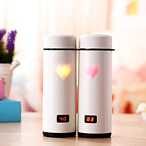 Light Up Water Bottle – 12oz Smart Water Bottle Travel Mug Tumbler. Good for Hot and Cold. Touch✋Magic Senor and Color Changing Magic Heart Lights Up - Best Gift for Mom, Black