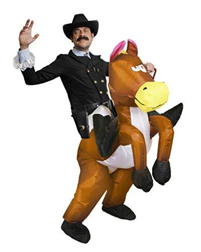 I LOVE FANCY DRESS LTD Cowboy Sheriff KOSTÜM VERKLEIDUNG. AUFBLASBARES Pferd GEBLÄSE Batterie + Frack Jacke + SCHWARZER Cowboy Hut + Cowboy Halsband + Pistolen Halter
