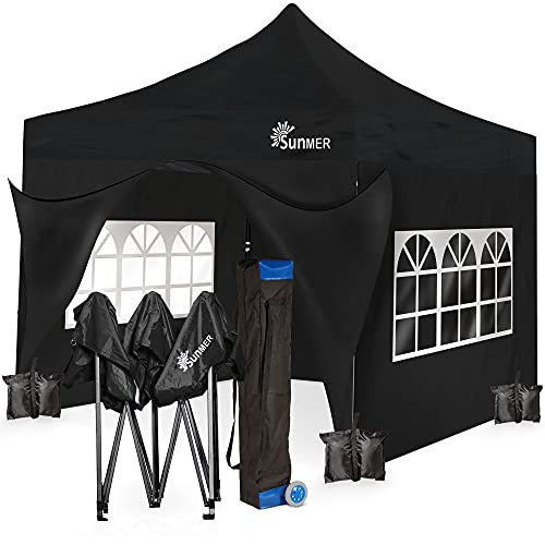SUNMER 3x3M Pop-Up Gazebo with 4 Sides - Fully Waterproof with Heavy Duty Steel Frame - Wheeled Bag Included for Easy Transportation - Black