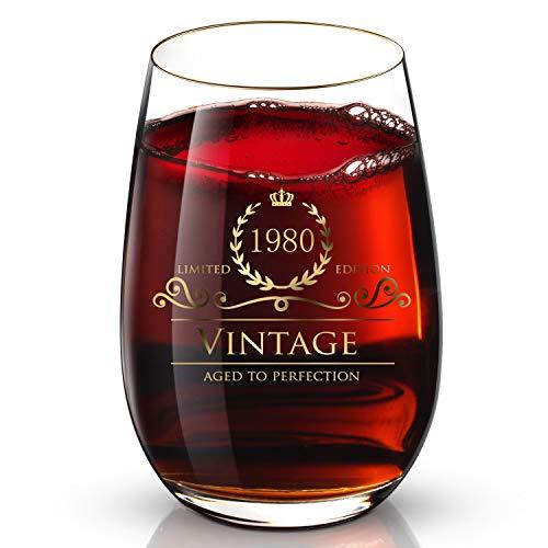 DesBerry 40. Geburtstags- / Jubiläumsgeschenke Weinglas ohne Stiel, Weingläser mit24k Gold handgefertigte Jahreszahl 1980 Universalbecher (1 Stück)