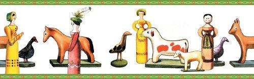3er Set GMM Kinderzimmer Bordüre, Tapetenborte - Tapeten Borte mit Puppen und Pferden, 3x5m, ideal zum Einzug, Umzug, Renovierung um Zimmer, Küche, Gänge, WC aufzupeppen