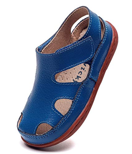 DADAWEN Boy's Girl's Leather Soft Closed Toe Outdoor Beach Summer Sport Sandals Water Shoes (Toddler/Little Kid/Big Kid) Blue US Size 1 M Little Kid