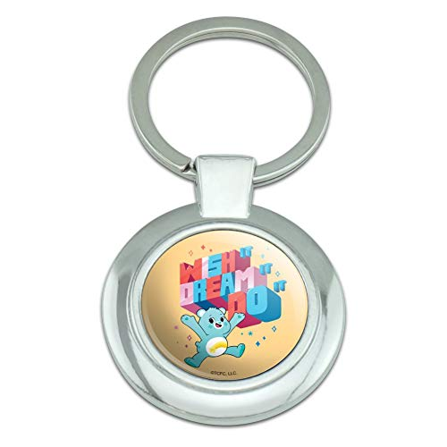 Care Bears: Unlock The Magic Wish It Keychain Classy Round Chrome Plated Metal