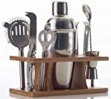 Stock Harbor 9 Piece Stainless Steel Bartender Set with Bamboo Base Kitchen Accessories Cocktail Bar tool Set