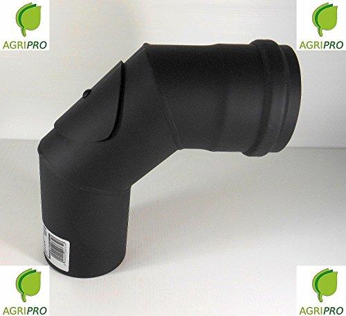 CURVA 90° ISPEZIONABILE tubo scarico fumi Diametro 80 per stufa a pellet canna fumaria
