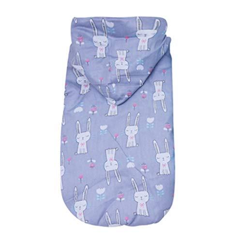 Yowablo Haustier Katze Hund Kleidung Kaninchen drucken zweibeinigen Baumwollmantel (L,3- Grau)