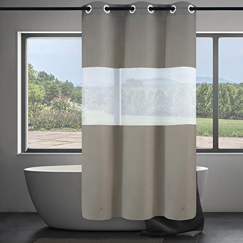 Furlinic Schmaler Duschvorhang aus PEVA für Eck Dusche & Kleine Badewanne Badvorhang mit Frost Fenster Schimmelresistent Wasserdicht Waschbar mit Magnet Khaki 120x180 mit Groß Ösen.