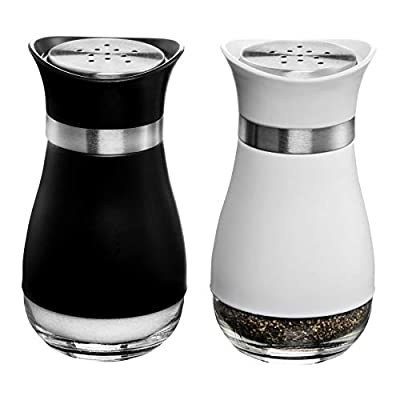 MITBAK Salt and Pepper Shakers (2-Pc. Set) Modern Stainless-Steel w/Clear Glass Bottom | Compact Cooking, Kitchen and Dining Room Use | Classic, Refillable Design