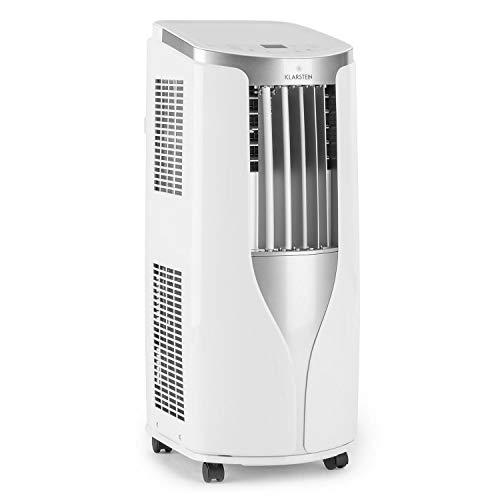 Klarstein New Breeze 7 - mobile Klimaanlage, 3-in-1: Kühlung, Entfeuchtung & Ventilation, 7.000 BTU / 2,1 kW, Energieeffizienzklasse A, Raumgröße: 21 bis 34 m², 16-30 °C, 4 Bodenrollen, Timer, weiß