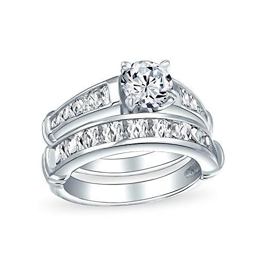 Classico stile tradizionale 2CT cubic zirconia rotondo taglio brillante solitario pave band AAA CZ Anniversario Anello di fidanzamento anello set band per le donne 925 sterling argento