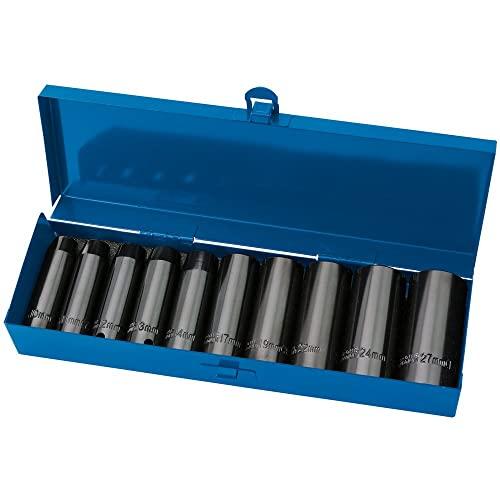 DRAPER Expert 10 piezas 1,27 cm para muesca cuadrada Hi-métricas de impacto profundo juego de llaves de vaso en una caja de Metal