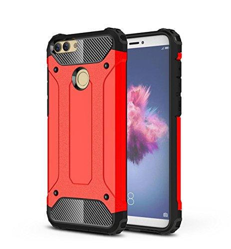 Custodie e cover Per Huawei P Smart,TPU +PC combinata,una protezione a 360 gradi,durevole, forte,di prima classe tecnologia anti-shock(rojo)