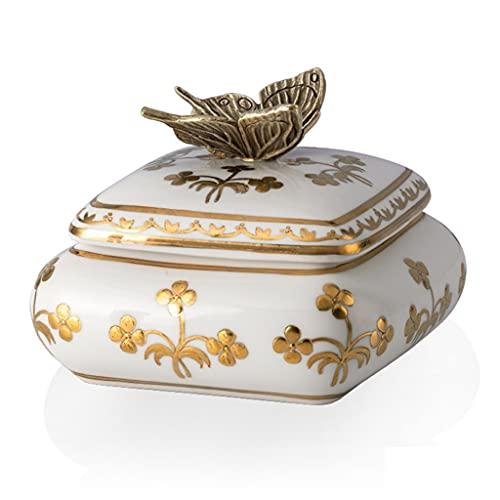 cajas para joyas Joyero Retro Europeo De Alta Temperatura De Cerámica con Forma De Mariposa Joyería Porche Joyero Caja De Almacenamiento (Color : Beige, Size : 13 * 13 * 11cm)