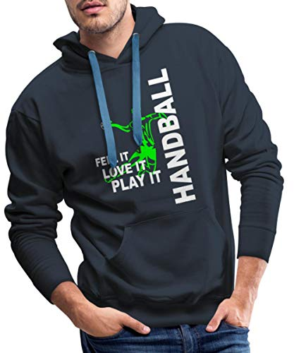 Spreadshirt Handball Feel It Love It Play It Handballer Männer Premium Hoodie, L, Navy