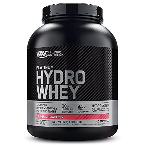 Optimum Nutrition Hydro Whey, Proteine del Siero del Latte Idrolizzate con Aminoacidi Ramificati Naturali e Aggiunti, Fragola, 40 Porzioni, 1,6 kg, il Packaging Potrebbe Variare