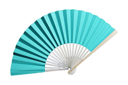 """Quasimoon 9"""" Turquoise Paper Hand Fans for Weddings, Premium Paper Stock (10 Pack) by PaperLanternStore"""