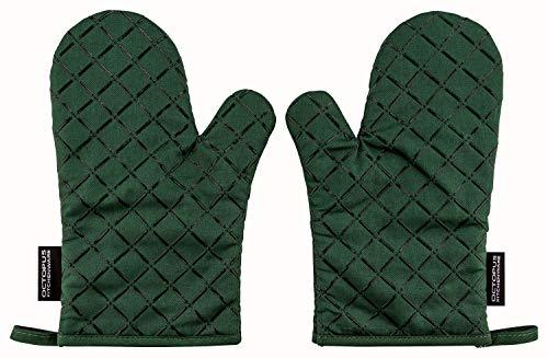 OCTOPUS Kitchenware Back-Ofenhandschuhe, Grill-Handschuhe, Backhandschuhe, Topfhandschuhe, 2er Set, Silikon-Beschichtung als Hitzeschutz Anti-Rutsch (Tannen-Grün)