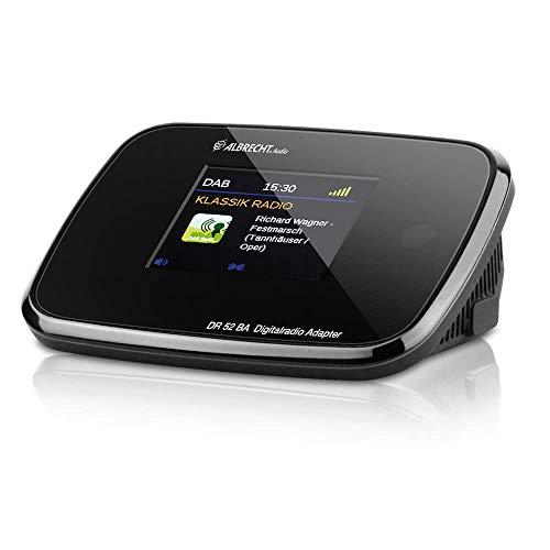 Albrecht DR52BA Adapter mit Bluetooth zum Aufrüsten von HiFi-Anlagen und UKW-Radios zum digitalen DAB+ Empfang, mit Farbdisplay und Antenne, Farbe: Schwarz