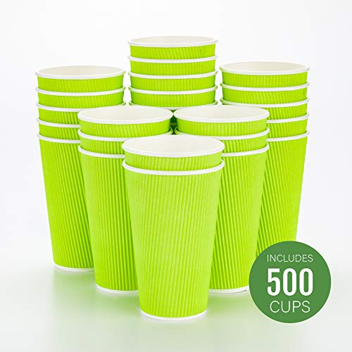 100 Pack 16 Oz [12 Oz] [4 Colors] Disposable Hot Paper Coffee Cups, Lids, Sleeves, Stirring Straws Clean White