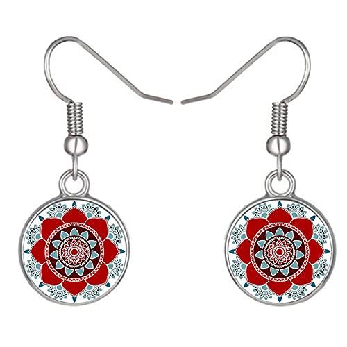 Las mujeres más nuevas brillantes de la flor del mandala cuelgan los pendientes religiosos regalos budistas de cristal cabujón pendientes de gota