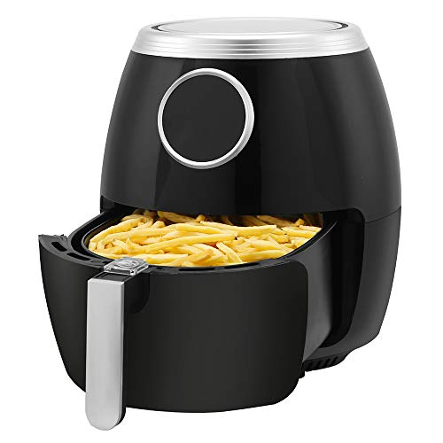 Kismile 6 Quart Air Fryer Electric Hot Air Fryer,1500 Watts Healthy Oil-Free Cooker with LCD Digital Panel,Time/Temp Touch control and Recipe Book (6.0QT+7Presets+Digital)
