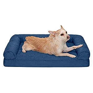 Furhaven Pet Dog Bed – Orthopedic Quilted Traditional Sofa-Style Living Room Couch Pet Bed with Removable Cover for Dogs and Cats, Navy, Medium