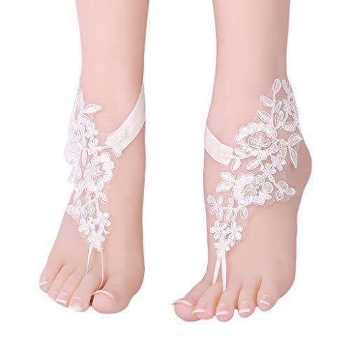ruiruiNIE Foot Flower 1 par Hecho a Mano DIY Estilo étnico Tobillera Mujer pie Flor Novia pies pies joyería Vestido de Novia Accesorios Encantador