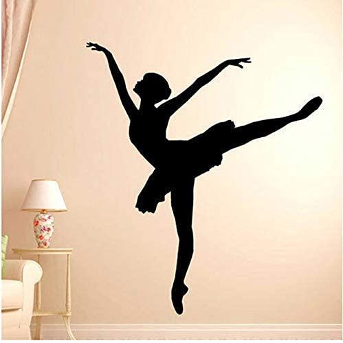 Bailarina Ballet Calcomanía De Pared Silueta Pegatina De Pared Vinilo Pegatina Hogar Dormitorio Pared Hogar Estudio Decoración Yoga Estudio Decoración 42X48Cm