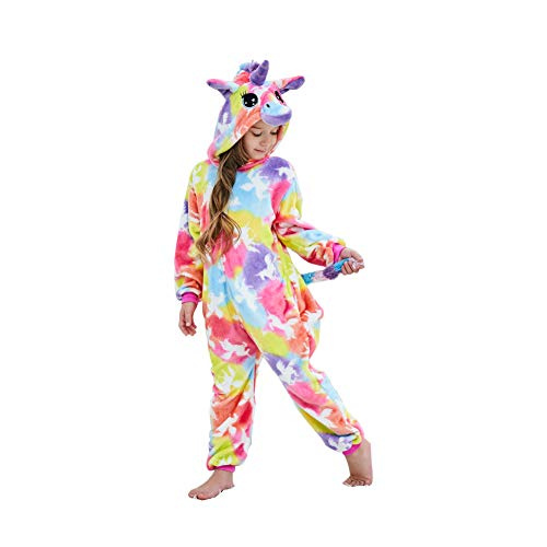 Girls And Boys Coloful Cloud Unicorn Onesie Pajamas Soft Fleece Halloween Costume Sleepwear (10-12 Years)