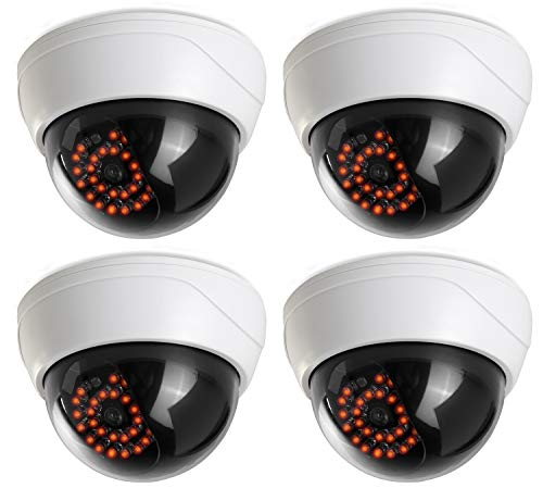 (4 Pack) Fake Security Camera CCTV Fake Dome Camera with Realistic Look...