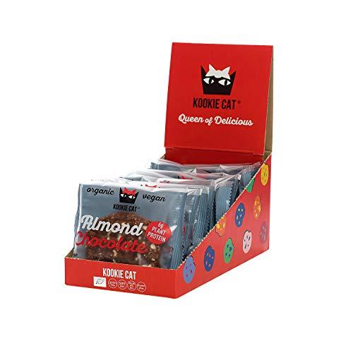 Kookie Cat Mandel & Schokolade - Vegane Cookies Einzeln Verpackt, Glutenfrei, Sojafrei, Bio, Mandel & Hafer - 12 X 50g Multipack