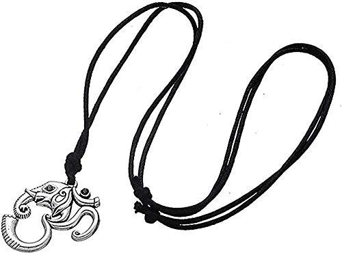 FACAIBA Collar Collar Elefante Inteligente Colgante Collar Color Plata Om Yoga Amuleto Indio Cadena de Cuerda Hombres/Mujer Mandala Collar para Mujeres Hombres Regalo