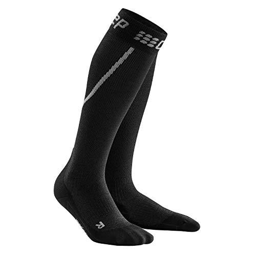 CEP – WINTER RUN SOCKS für Damen   Warme Laufsocken mit Kompression in grau / schwarz   Größe III