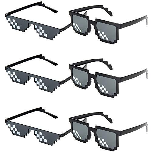6 Pares Thug Life Sunglasses, Deal With It Gafas de Sol 8 Bits Píxeles, Mosaico, Ideal para Broma Fiestas Hombre Mujer,Negro