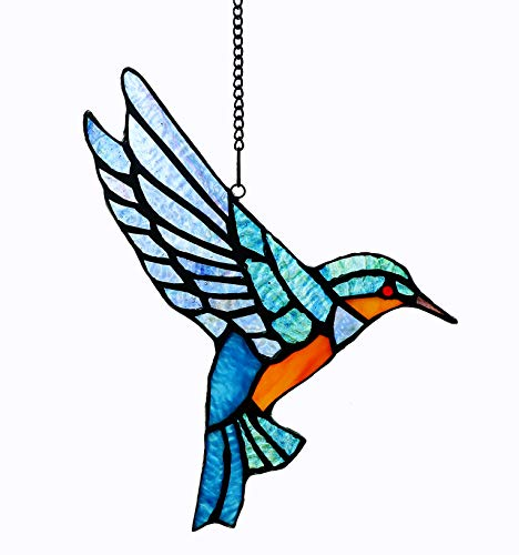 Alivagar Stained Glass Bluebird Window Hanging Sun Catcher Ornament Bird, 9' x 6 1/2'