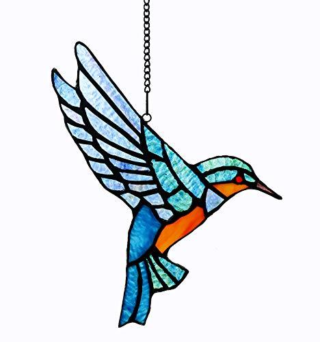 Alivagar Stained Glass Bluebird Window Hanging Sun Catcher Ornament Bird, 9 x 6 1/2