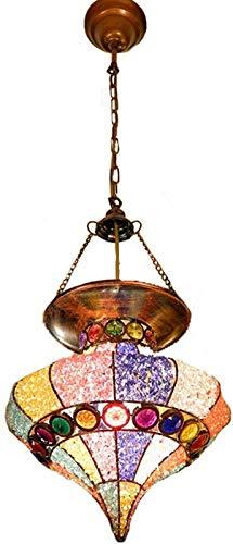 FEE-ZC Bohemia Lampadario Multicolore in Acrilico Paralume Marocchino Tiffany Turco Lampada a Sospensione a soffitto Soggiorno Camera da Letto Sala da Pranzo Cucina Decor Lampada a Sospensione E27