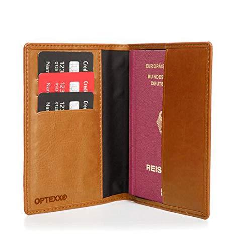 OPTEXX® Pasaporte RFID cartera Mika coñac hecha de piel Vegi TÜV probado y certificado