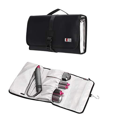 BUBM BUBM Étui de rangement de voyage étanche et durable pour Dyson Airwrap, sèche-linge pré-coiffant, 4 barils, 2 brosses lissantes et brosse volumisante, noir, (JFQ-T01)