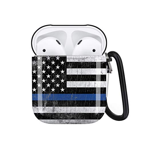 Retro American Flag Airpods Case Cover Personalized,Durable Airpods Accessories for Apple Airpods Charging Case 2&1,Shockproof Drop Proof Protective Case Cover with Keychain/Neck Running Strap