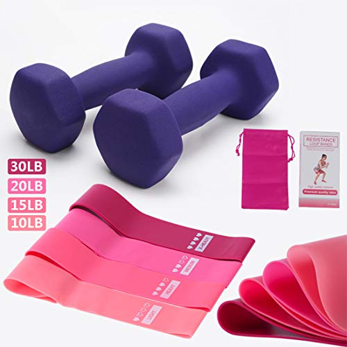 Dumbbell, Hex Dumbbells Weight Set of 2, 1KG/1.5KG/2KG/3KG/4KG/5KG, Neoprene Dumbbell Set Coated for Non Slip Grip, for Home and Gym Fitness Exercise,Purple,1kg*2