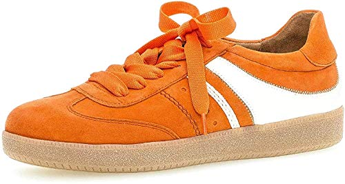 Gabor Damen Sneaker, Frauen Low-Top Sneaker,Best Fitting,Optifit- Wechselfußbett, sportschuh Frauen weibliche Lady Ladies,orange/Weiss,40.5 EU / 7 UK