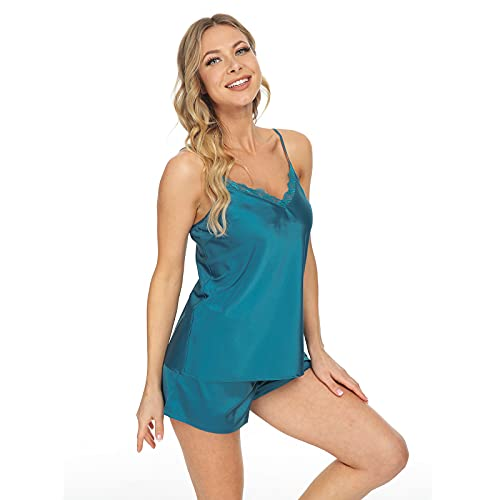 Mnemo Pajamas - Conjunto de ropa de dormir sexy para mujer (satén) azul M