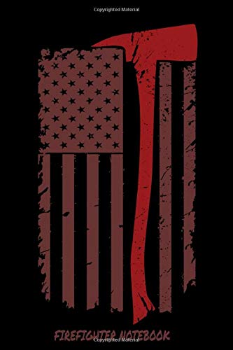 """Firefighter Notebook: Thin Red Line First Responder / Volunteer Fireman Flag Art / 6"""" x 9"""" / 110 pgs / Blank Lined Journal Notepad to Write In / Softcover"""
