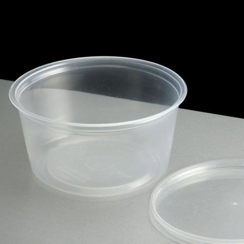 50 X 4oz Microwave Plastic Clear Cups with Lids- Dishwasher Safe/Freezer/Microwave