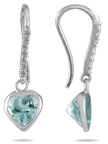 2,00 juego de bisel quilates en forma de corazón Aquamarine y pendientes diamante en 14 K oro blanco