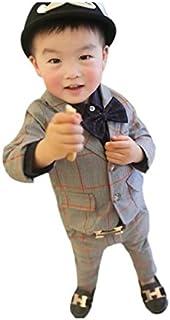 Burning Go 男の子 フォーマル スーツセット チェック柄 ジャケット カッコイイ 上下セット 洋服 結婚式 発表会 紳士服
