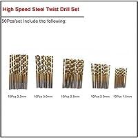50ピース/セット1.0-3.0mm 99pcs /セット1.5-10mm高速鋼チタンメッキツイストドリルセット、HSSストレートシャンクツイストドリルビット カーフェンダー (Color : 50pcs set)