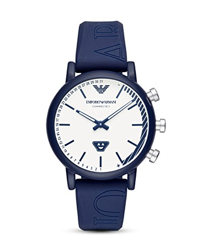 Emporio Armani Herren Analog Quarz Smart Watch Armbanduhr mit Silikon Armband ART3023
