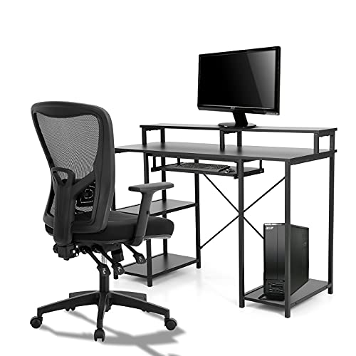 MAISON ARTS Black Computer Office Desk and Chair Set, Office Desk with Storage Shelves & Keyboard Tray Home Writting Desk with Ergonomic Mesh Office Chair Set Modern PC Table for Bedroom Work Gaming